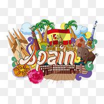 西班牙城市地标建筑文化旅游宣传矢量