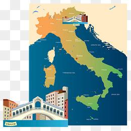 意大利地图 插画图片