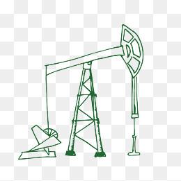 矢量绿色手绘钻井油井中石油图片