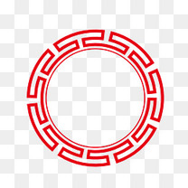 矢量中国红圆形边框PNG图片