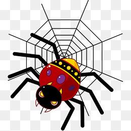 卡通手绘红色蜘蛛图片