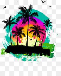 矢量椰林海岛素材