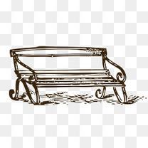 手绘线稿公园长椅