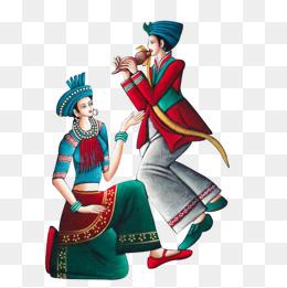 水墨画傣族少女舞蹈图片