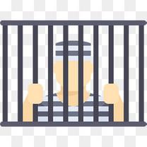 卡通关在监狱牢笼里的囚犯