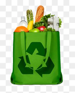 绿色环保袋和果蔬面包图片