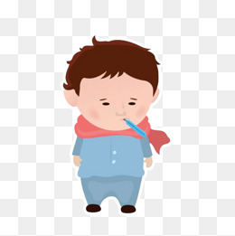 卡通插图男孩发烧量体温图片