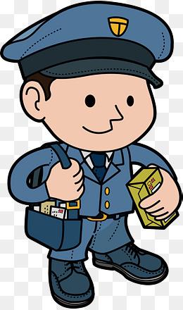 卡通形象戴蓝色帽子的邮递员图片