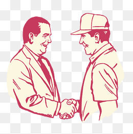 漫画人物插图两人握手谈话图片