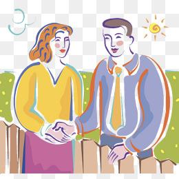 装饰插画情侣两人握手图片
