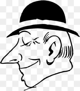 戴帽子的男人侧面简笔画