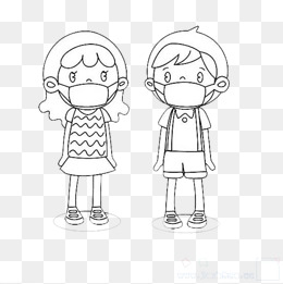 戴口罩的男孩和女孩图片