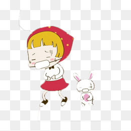 戴口罩的女孩和小兔子图片