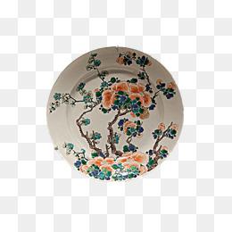 一个彩釉的盘子