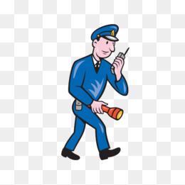 卡通保安拿着手电筒巡逻图片