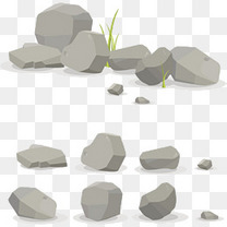 卡通手绘灰色石头