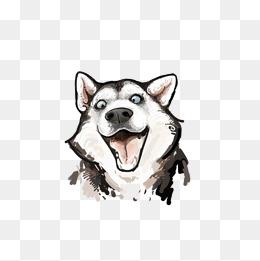 卡通可爱小动物装饰设计动物头像哈士奇狗狗图片