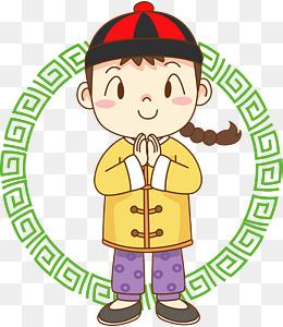 新年福娃手绘卡通人物png素材图片免费下载_高清psd图片