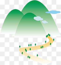 绿色卡通山路素材图片