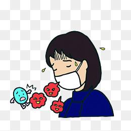 卡通戴口罩辛苦咳嗽冒汗的女孩素材图片