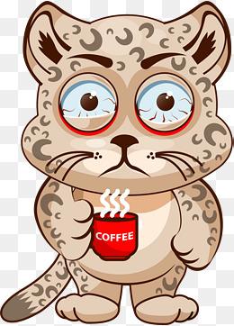 熬夜的卡通可爱豹子图片