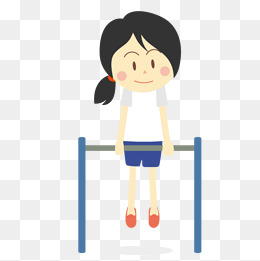 做单杠运动的卡通女孩图片