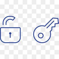 蓝色的锁头和钥匙图标矢量图