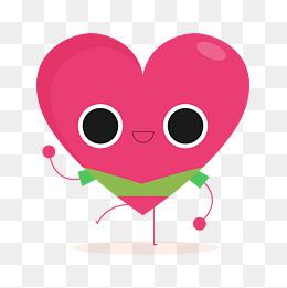 红绿色抬腿的卡通心形图片