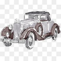 水彩复古老爷车设计