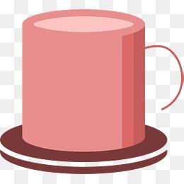 圆形矢量粉色马克杯图片