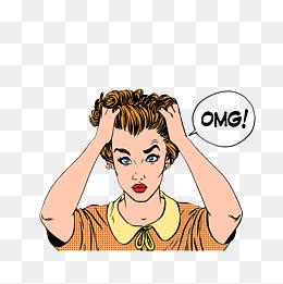 纠结表情的卡通图_【抓头发素材】_抓头发图片大全_抓头发素材免费下载_千库网png