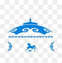 手绘白色蓝色简约风的蒙古包素材
