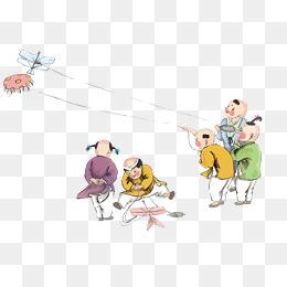 春季水彩古代小孩玩耍放风筝图矢量图图片
