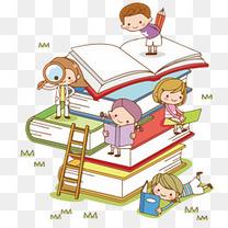 卡通小孩学生知识的阶梯学习培训班广告装饰素材