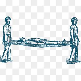 卡通抬担架的医护人员图片