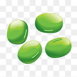 卡通绘画饱满绿豆子