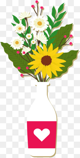 黄色小雏菊唯美手绘插花瓶花背景