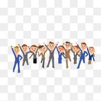 跳跃的一群职业工作人群手绘卡通插图