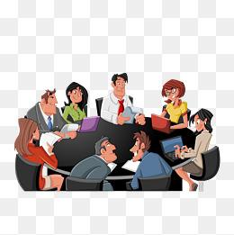 卡通手绘多人会议素材图片