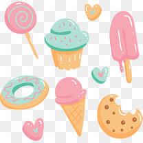 粉红可爱糖果冰激凌