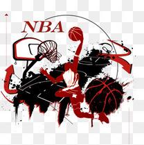 免抠卡通泼墨手绘打篮球的运动员
