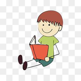 坐着看书的男孩卡通图图片