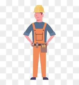 卡通施工工人人物图片
