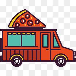红色卡通餐车矢量图图片