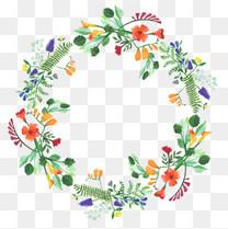 手绘卡通森系花环装饰