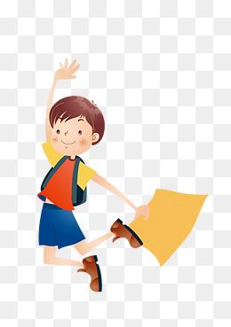 手绘小学生跳跃矢量