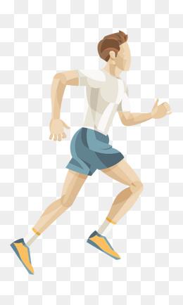 手绘人物插图跑马拉松的男人插画