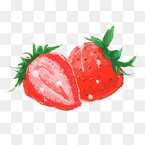 手绘草莓水果元素