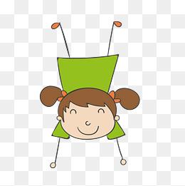 卡通的倒立的女孩人物设计图片