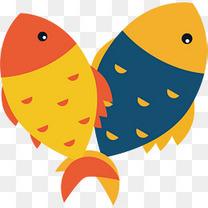 矢量图金色蓝色小鱼